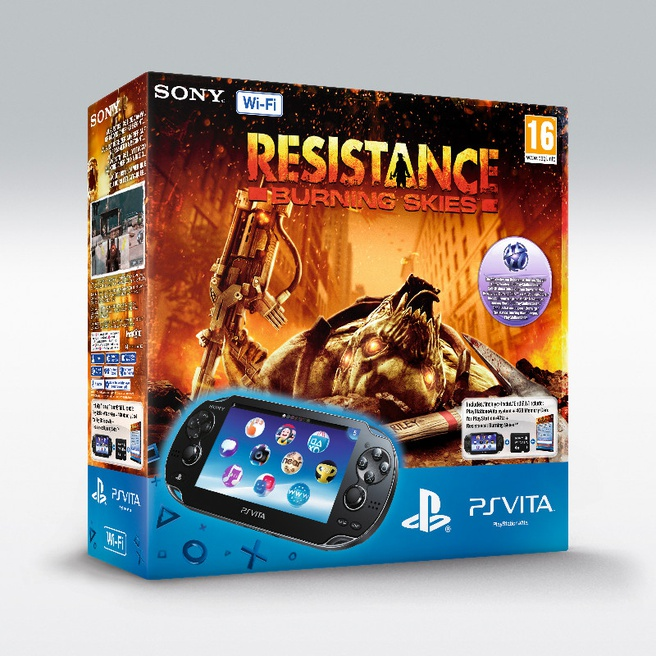 Sony PlayStation Vita WiFi + Resistance: Burning Skies (voucher) + 4GB Zwart