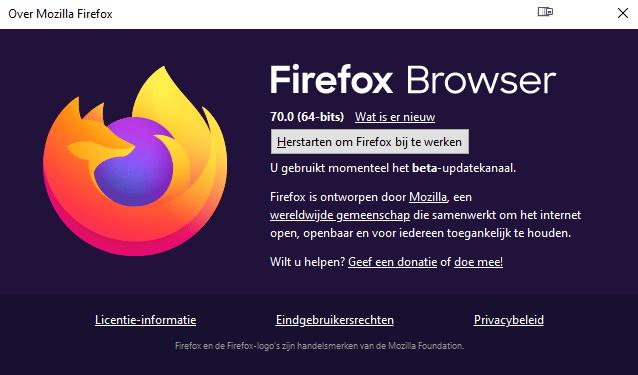 Firefox About versie 70