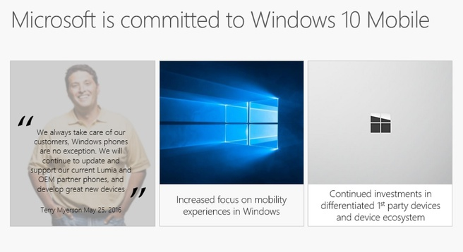 Microsoft committed to Windows 10 Mobile