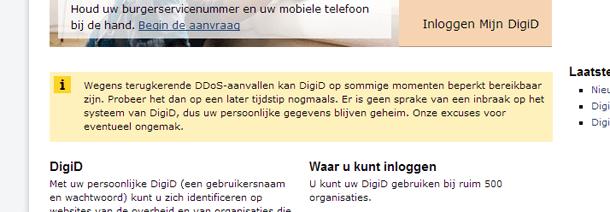 DigiD-melding DDOS