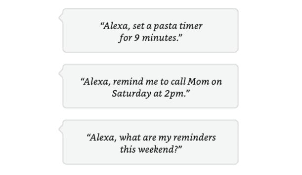 Alexa reminders