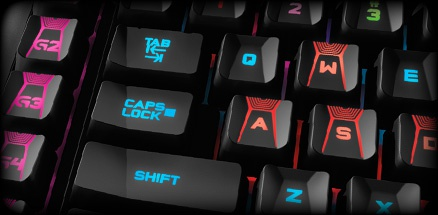 Rgb-backlit wasd-keys op gamingboard
