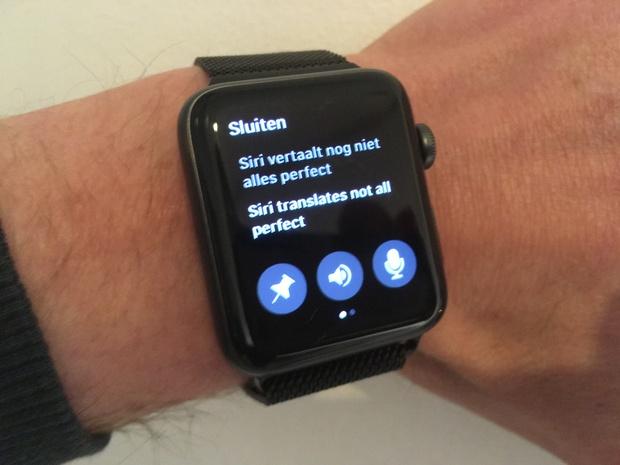 Microsoft Translator werkt op de watch al aardig.