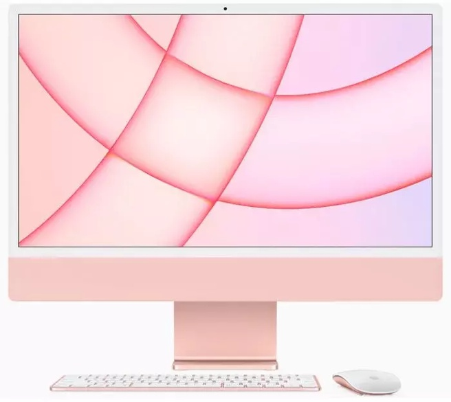 "Apple iMac 24"" Retina 4.5K (2021) M1, 8-core GPU, 8GB, 512GB ssd (Qwerty toetsenbord), Roze"
