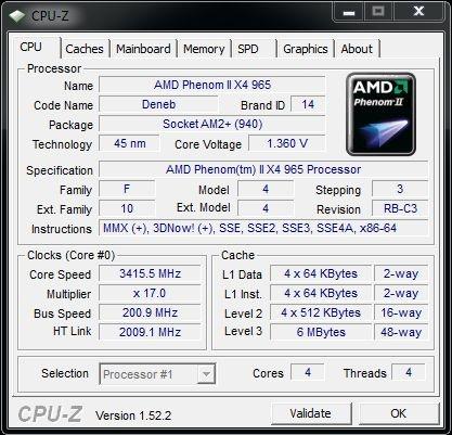 Cpu-z AMD Phenom II X4 965