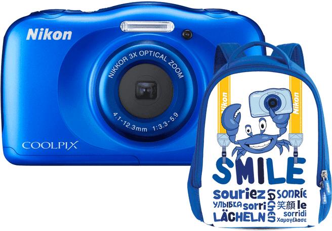 Nikon Coolpix W100 + Kids backpack Blauw