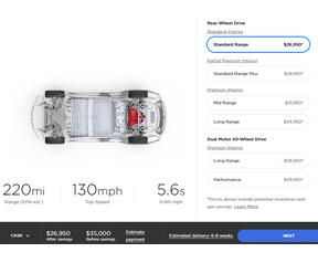 Tesla Model 3 prijsweergave