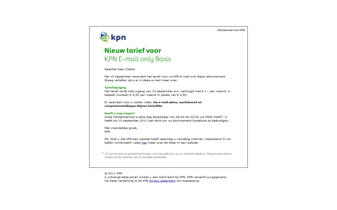 Verdubbeling tarieven E-mail only-abo's KPN wekt woede ...