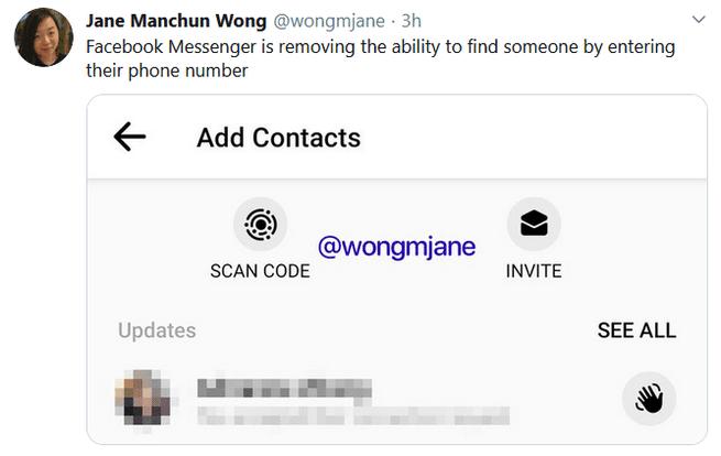 Wong tweet FB messenger