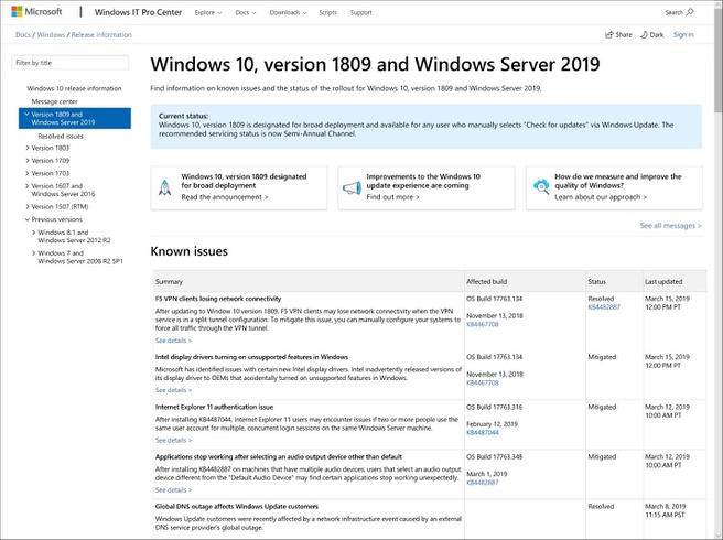 Windows 10 2019 Update Dashboard