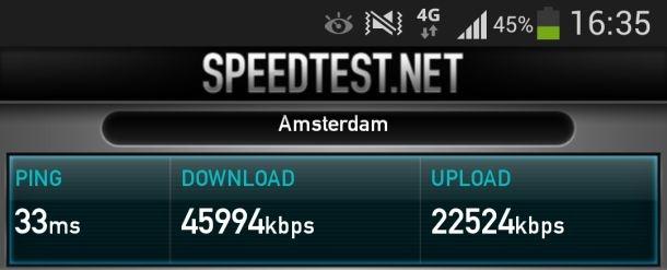 Speedtest over 4g op Galaxy S4