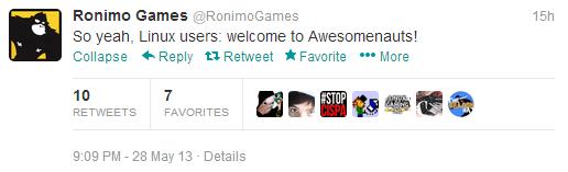 Ronimo Tweet Awesomenauts Linux