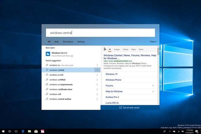Insider-build Windows 10 bevat vernieuwde zoekfunctie