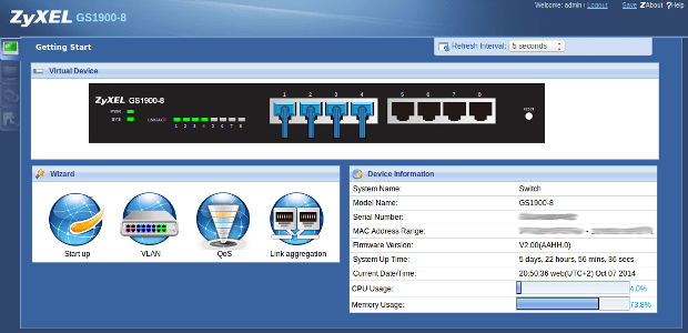 Web configurator - start scherm