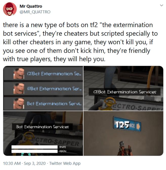 TF2 Bot Extermination Service tweet