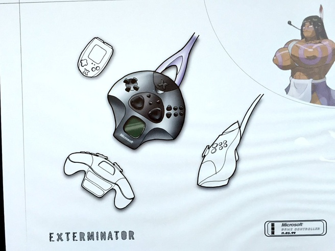 Ontwerpschetsen voor de oorspronkelijke Xbox-controller