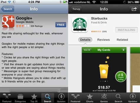 App Store detailpagina in iOS 5 en iOS 6