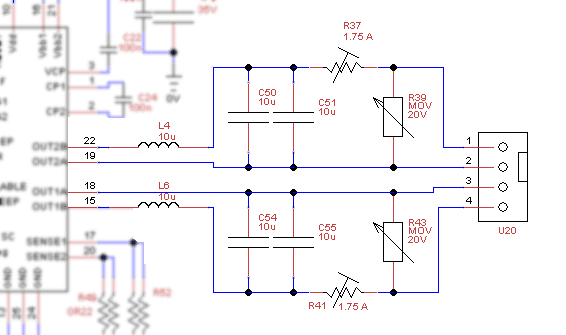 The output filter and protections in schematic form
