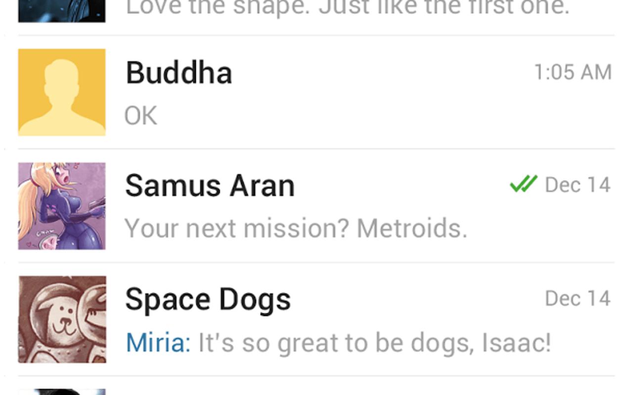 Telegram screenshots uit Play Store