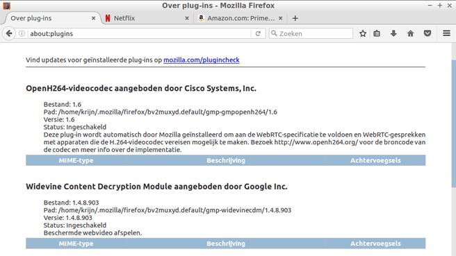 Firefox 49 met Widevie
