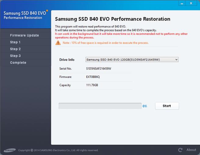 Samsung SSD 840 EVO Performance Restoration Software