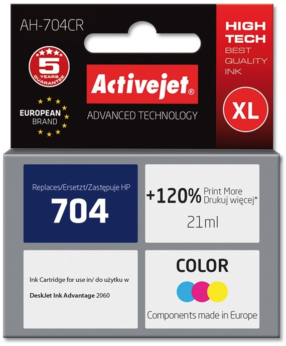 Activejet ink for Hewlett Packard No.704 CN693AE