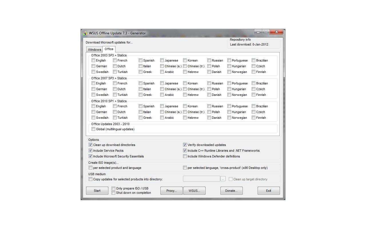 WSUS Offline Update 7.3 screenshot
