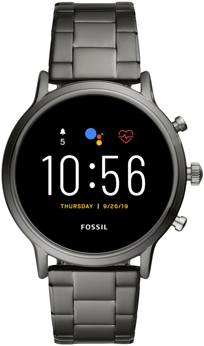Fossil Gen 5 The Carlyle HR Smoke Stainless Steel Zilver (Zilver)