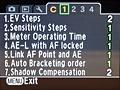Pentax K-m menu-interface