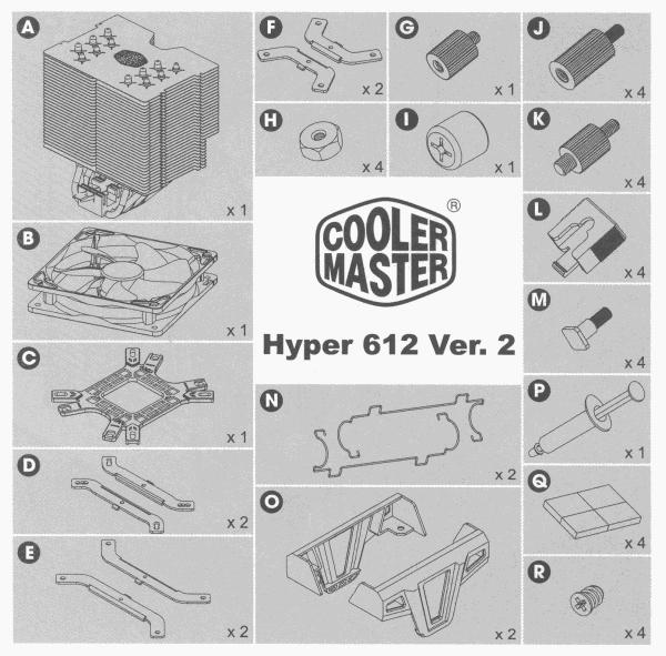 Overzicht onderdelen Cooler Master Hyper 612 Ver.2