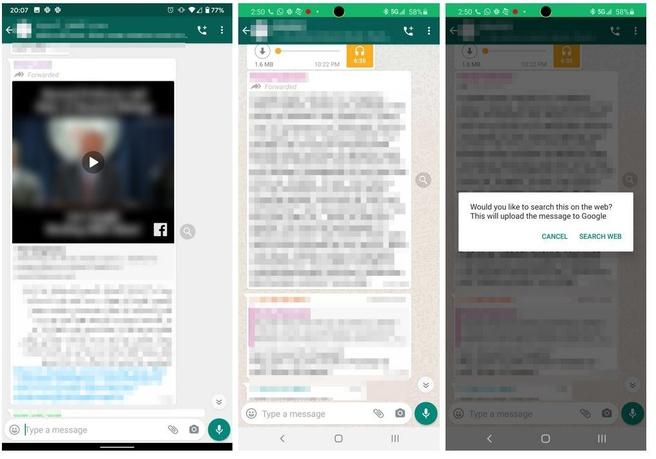 WhatsApp: doorgestuurde berichten online opzoeken