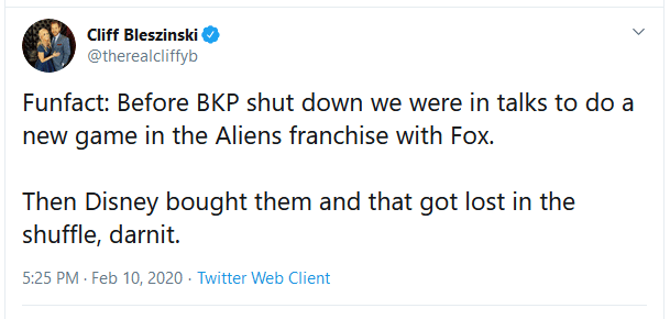 CliffyB tweet Aliens-game