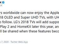 LG-tv's uit 2018 krijgen HomeKit en AirPlay 2