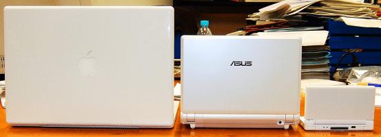 V.l.n.r.: Macbook, EEE PC 900, Nintendo DS
