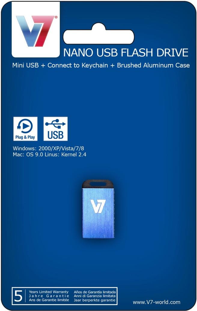 V7 Nano USB 2.0 8GB Blauw