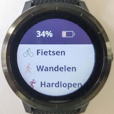 Keuzemenu activiteiten in horloge