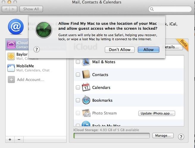 Mac OS X Lion Find my Mac