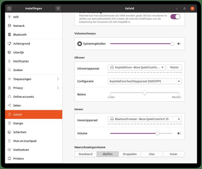 Ubuntu 20.04 geluidsinstellingen