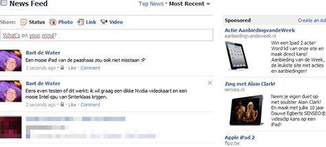 Facebook realtime advertenties