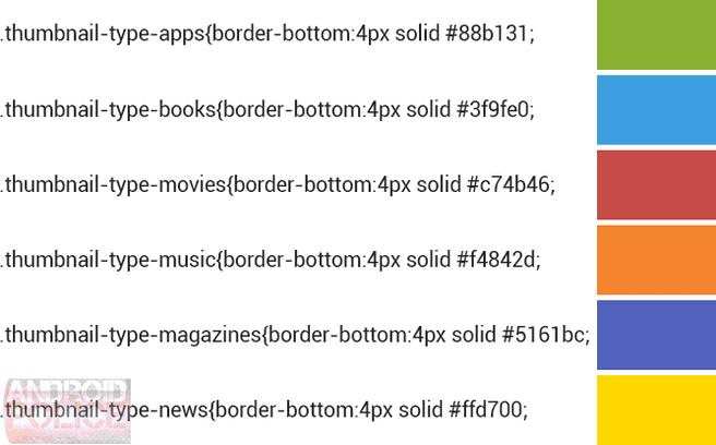 Steunkleuren Play Store-onderdelen in Play Store 4.4