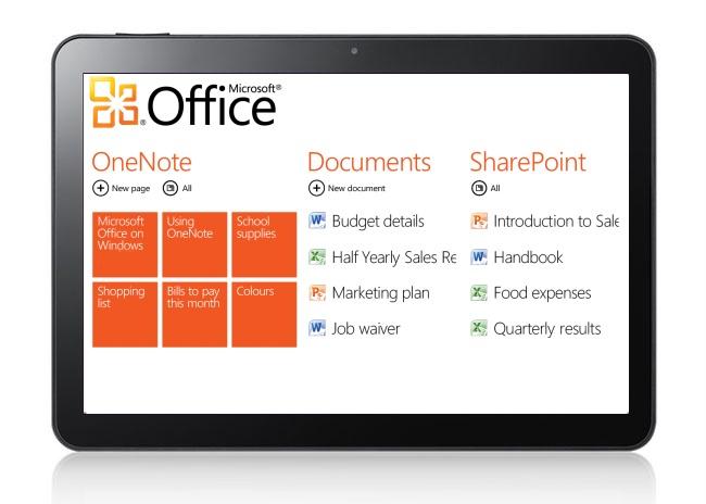 Mockup: Metro-stijl Office op Windows 8-tablet