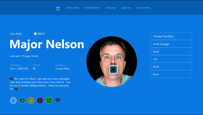 Xbox profiel Major Nelson