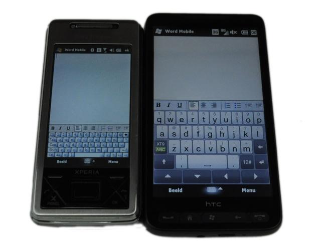 "Sony Ericsson Xperia X1 (3"") en HTC HD2 (4,3"")"