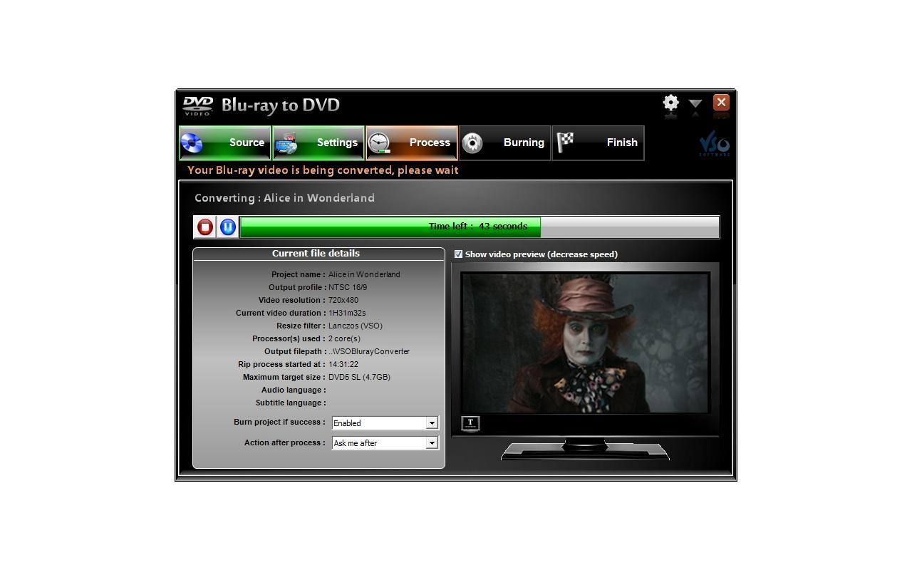 Blu-ray to DVD converter screenshot