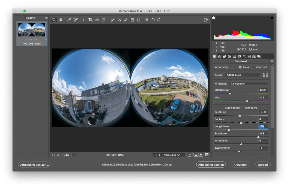 360 raw-bewerking in Photoshop