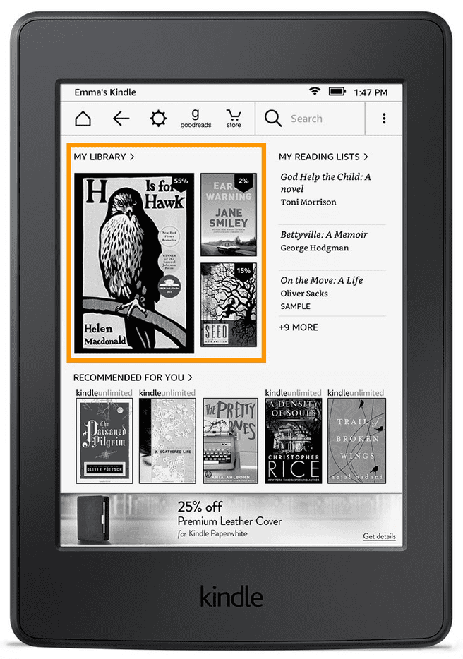 Kindle homescreen update