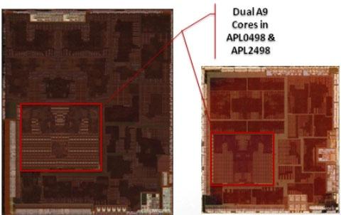 Apple A5-soc: 45nm-versie tegenover 32nm-versie (foto: Chipworks)