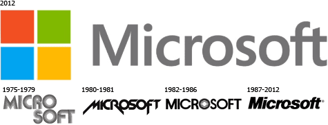 Oude en nieuwe MS-logo's