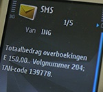 Overboeking ING Tan-Code SMS Internetbankieren Postbank