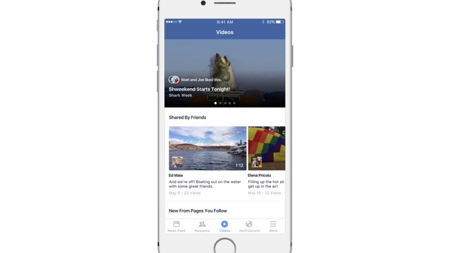 Facebook video feed